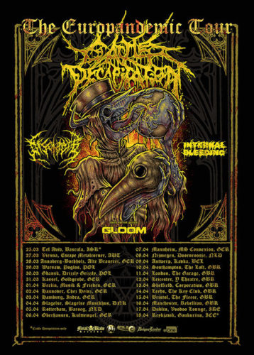 Ein Flyer mit 2020er Tourdaten von Cattle Decapitation