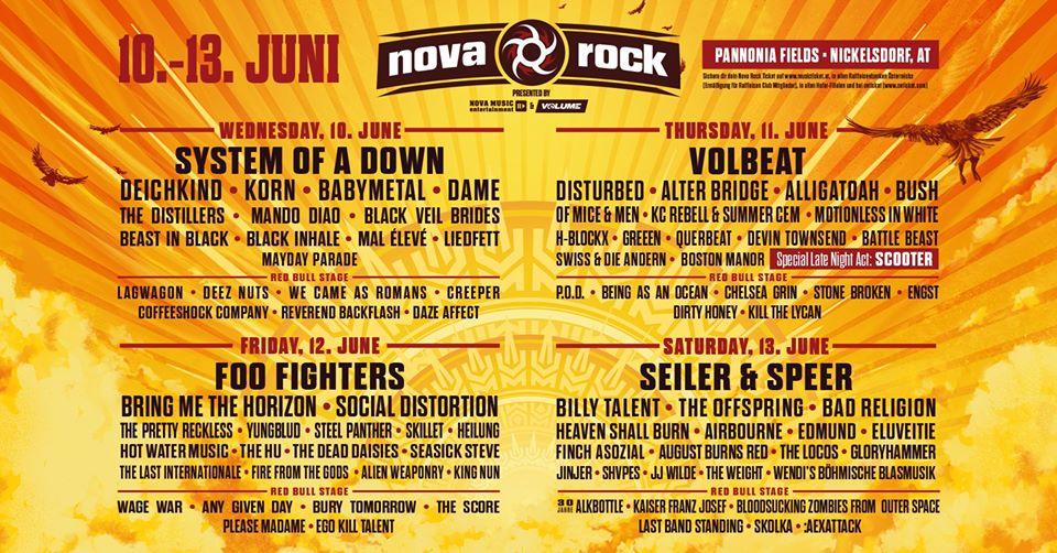 Das Billing des Nova Rock Festival 2020 in Österreich